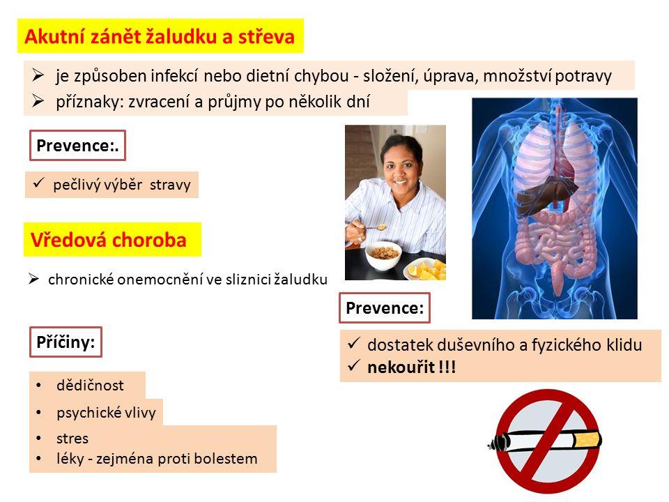 Akutní zánět žaludku a střeva  je způsoben infekcí nebo dietní chybou - složení, úprava, množství potravy  příznaky: zvracení a průjmy po několik dn