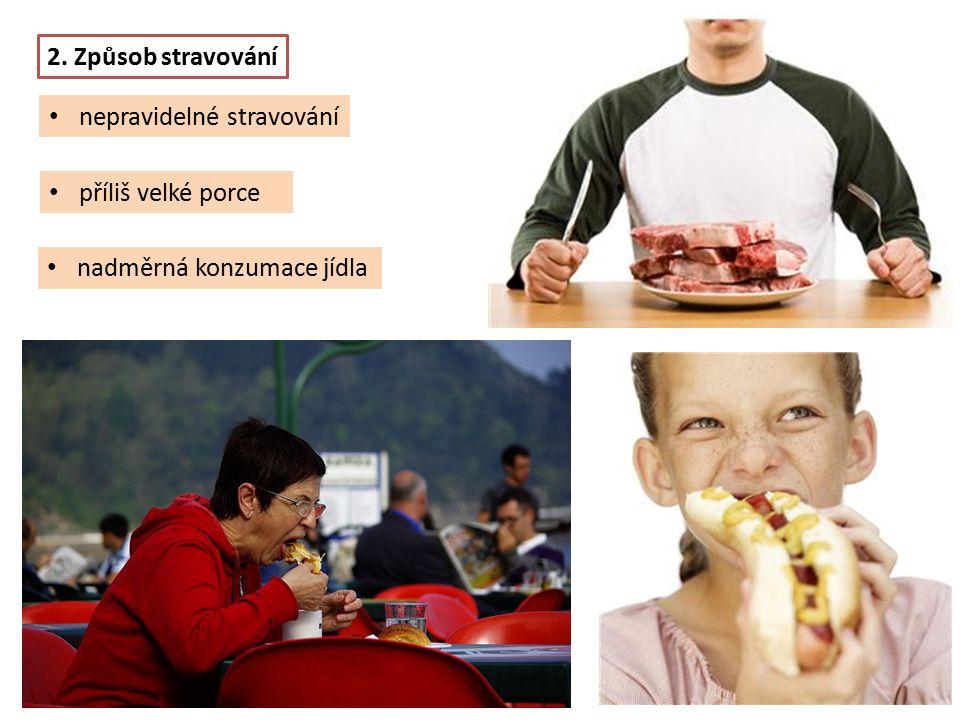 příliš velké porce nadměrná konzumace jídla 2. Způsob stravování nepravidelné stravování