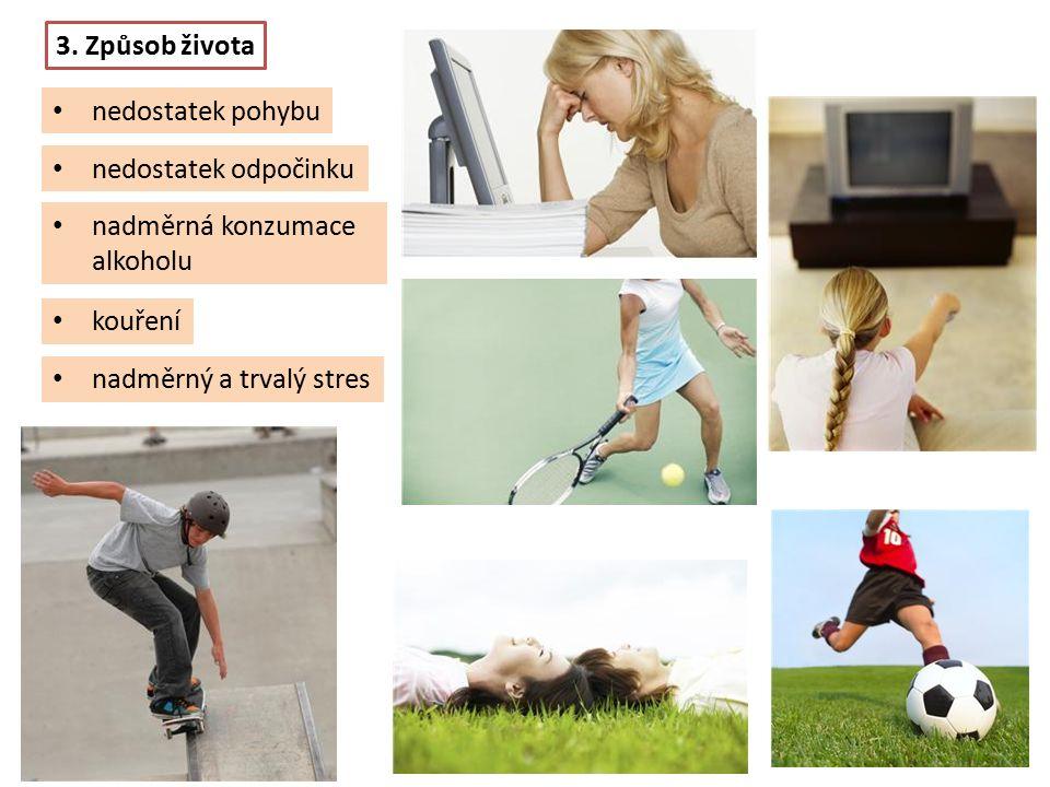 nadměrná konzumace alkoholu 3. Způsob života nedostatek pohybu nedostatek odpočinku kouření nadměrný a trvalý stres