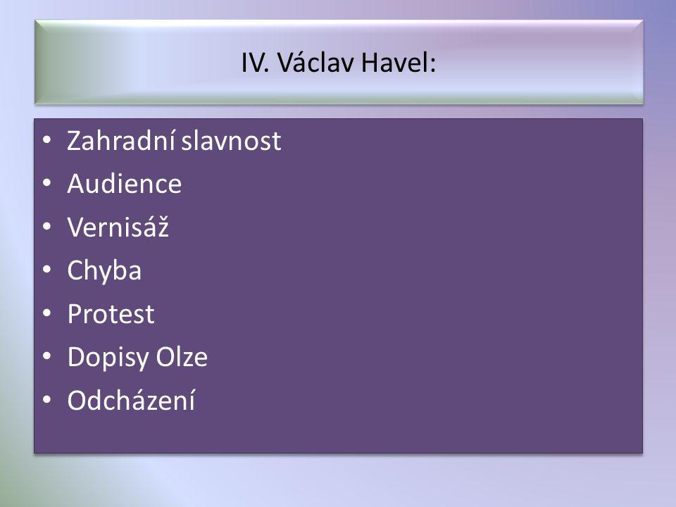 IV. Václav Havel: Zahradní slavnost Audience Vernisáž Chyba Protest Dopisy Olze Odcházení