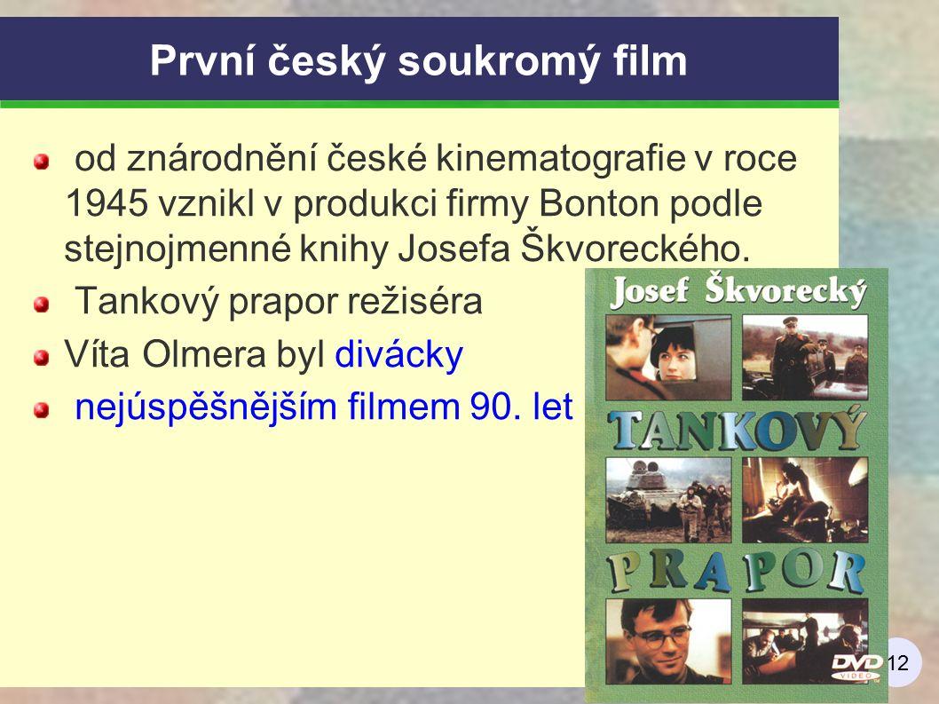 12 První český soukromý film od znárodnění české kinematografie v roce 1945 vznikl v produkci firmy Bonton podle stejnojmenné knihy Josefa Škvoreckého.