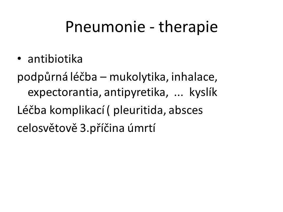 Pneumonie - therapie antibiotika podpůrná léčba – mukolytika, inhalace, expectorantia, antipyretika,...