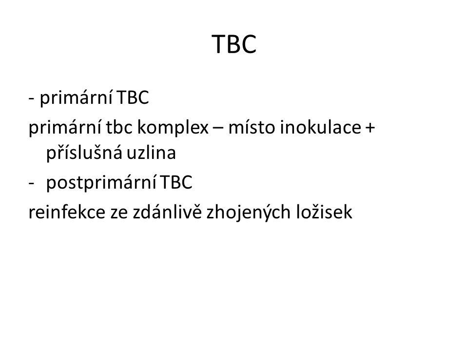TBC - primární TBC primární tbc komplex – místo inokulace + příslušná uzlina -postprimární TBC reinfekce ze zdánlivě zhojených ložisek