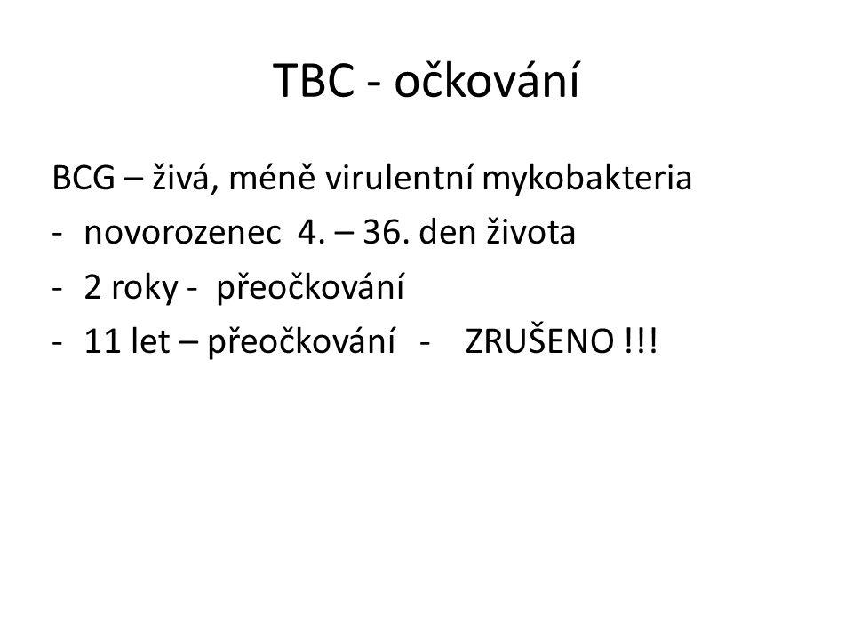 TBC - očkování BCG – živá, méně virulentní mykobakteria -novorozenec 4.