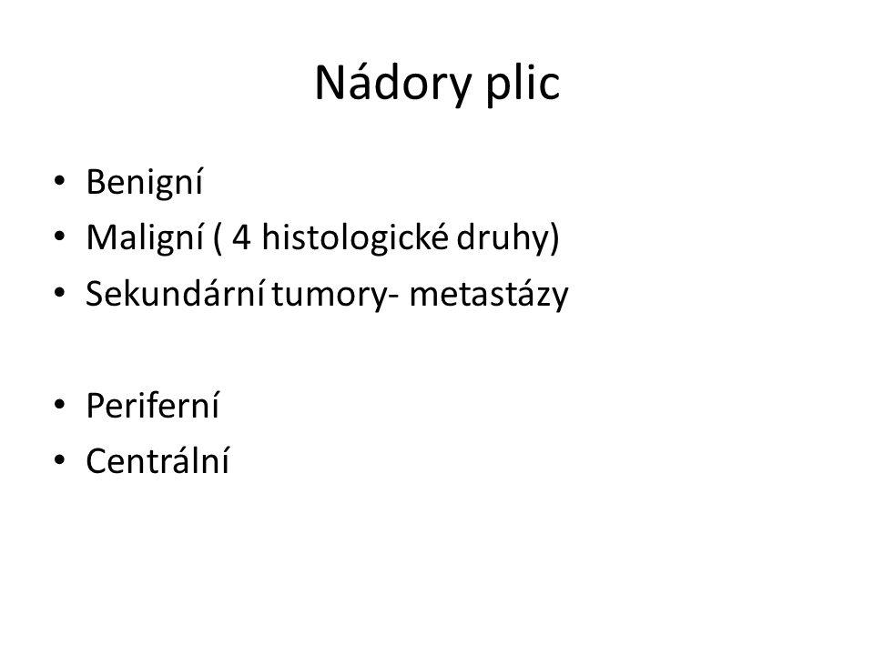 Nádory plic Benigní Maligní ( 4 histologické druhy) Sekundární tumory- metastázy Periferní Centrální