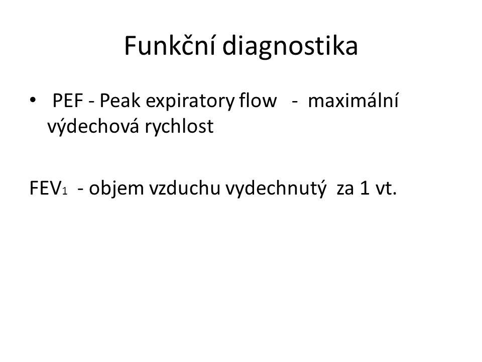 Funkční diagnostika PEF - Peak expiratory flow - maximální výdechová rychlost FEV 1 - objem vzduchu vydechnutý za 1 vt.