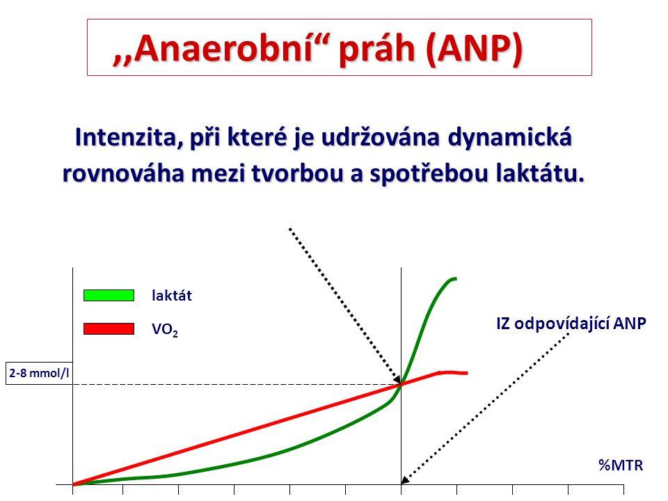 """Intenzita, při které je udržována dynamická rovnováha mezi tvorbou a spotřebou laktátu. %MTR laktát VO 2 2-8 mmol/l IZ odpovídající ANP,,Anaerobní"""" pr"""