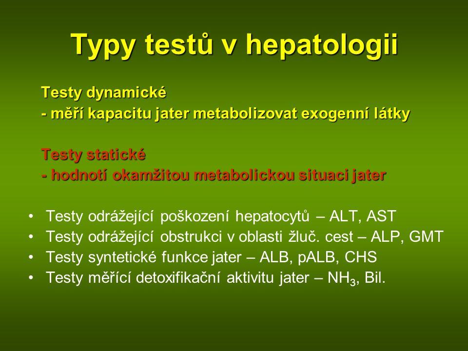 Typy testů v hepatologii Testy dynamické - měří kapacitu jater metabolizovat exogenní látky - měří kapacitu jater metabolizovat exogenní látky Testy statické - hodnotí okamžitou metabolickou situaci jater - hodnotí okamžitou metabolickou situaci jater Testy odrážející poškození hepatocytů – ALT, AST Testy odrážející obstrukci v oblasti žluč.
