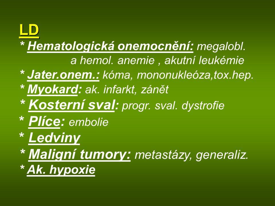 LD * Hematologická onemocnění: megalobl. a hemol. anemie, akutní leukémie * Jater.onem.: kóma, mononukleóza,tox.hep. * Myokard: ak. infarkt, zánět * K