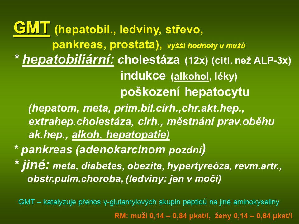 GMT GMT (hepatobil., ledviny, střevo, pankreas, prostata), vyšší hodnoty u mužů * hepatobiliární: cholestáza (12x) (citl. než ALP-3x) indukce (alkohol