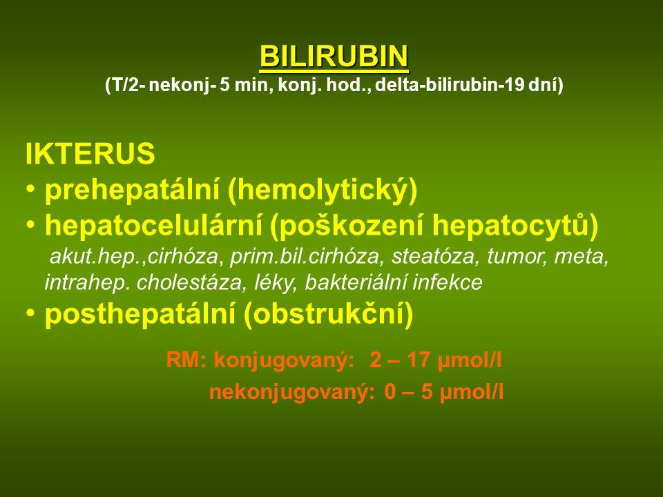 BILIRUBIN (T/2- nekonj- 5 min, konj. hod., delta-bilirubin-19 dní) IKTERUS prehepatální (hemolytický) hepatocelulární (poškození hepatocytů) akut.hep.
