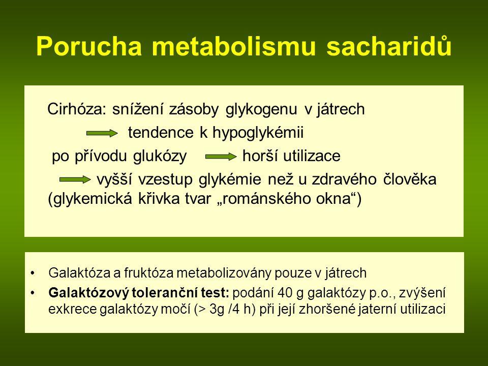 """Porucha metabolismu sacharidů Cirhóza: snížení zásoby glykogenu v játrech tendence k hypoglykémii po přívodu glukózy horší utilizace vyšší vzestup glykémie než u zdravého člověka (glykemická křivka tvar """"románského okna ) Galaktóza a fruktóza metabolizovány pouze v játrech Galaktózový toleranční test: podání 40 g galaktózy p.o., zvýšení exkrece galaktózy močí (> 3g /4 h) při její zhoršené jaterní utilizaci"""