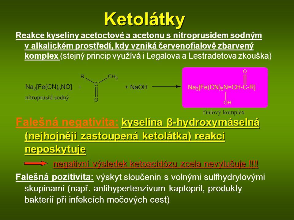 Ketolátky Reakce kyseliny acetoctové a acetonu s nitroprusidem sodným v alkalickém prostředí, kdy vzniká červenofialově zbarvený komplex (stejný princip využívá i Legalova a Lestradetova zkouška) kyselina β-hydroxymáselná (nejhojněji zastoupená ketolátka) reakci neposkytuje Falešná negativita: kyselina β-hydroxymáselná (nejhojněji zastoupená ketolátka) reakci neposkytuje negativní výsledek ketoacidózu zcela nevylučuje !!!.