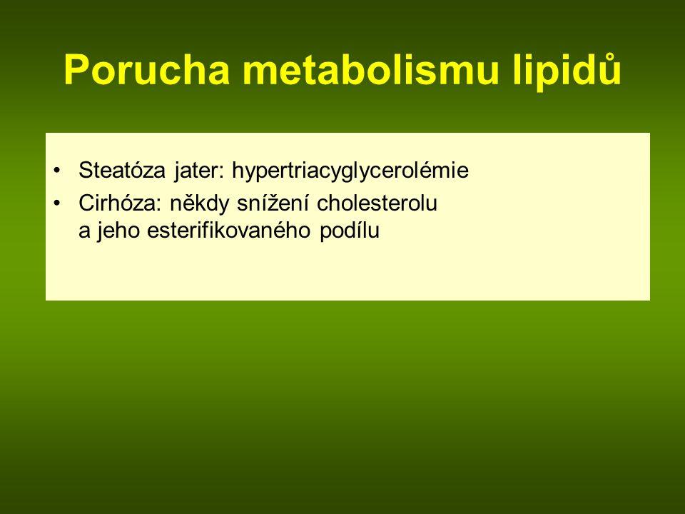Porucha metabolismu lipidů Steatóza jater: hypertriacyglycerolémie Cirhóza: někdy snížení cholesterolu a jeho esterifikovaného podílu