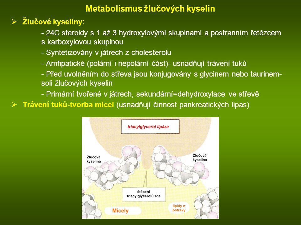 Metabolismus žlučových kyselin  Žlučové kyseliny: - 24C steroidy s 1 až 3 hydroxylovými skupinami a postranním řetězcem s karboxylovou skupinou - Syntetizovány v játrech z cholesterolu - Amfipatické (polární i nepolární část)- usnadňují trávení tuků - Před uvolněním do střeva jsou konjugovány s glycinem nebo taurinem- soli žlučových kyselin - Primární tvořené v játrech, sekundární=dehydroxylace ve střevě  Trávení tuků-tvorba micel (usnadňují činnost pankreatických lipas)