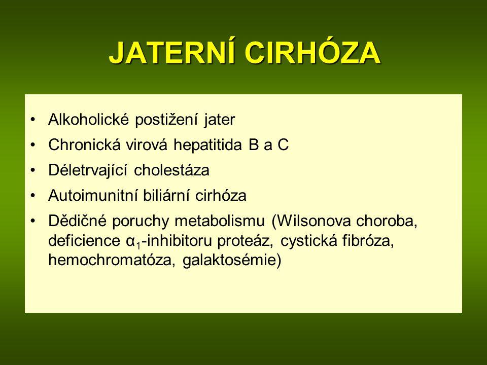 JATERNÍ CIRHÓZA Alkoholické postižení jater Chronická virová hepatitida B a C Déletrvající cholestáza Autoimunitní biliární cirhóza Dědičné poruchy metabolismu (Wilsonova choroba, deficience α 1 -inhibitoru proteáz, cystická fibróza, hemochromatóza, galaktosémie)