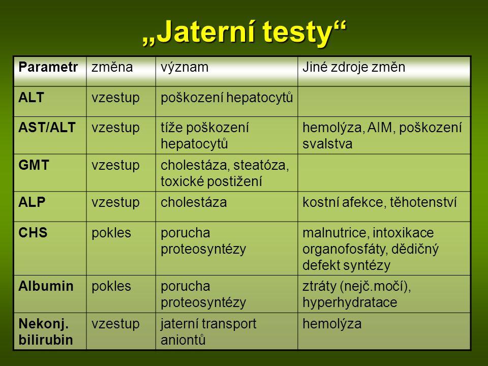 """""""Jaterní testy"""" ParametrzměnavýznamJiné zdroje změn ALTvzestuppoškození hepatocytů AST/ALTvzestuptíže poškození hepatocytů hemolýza, AIM, poškození sv"""