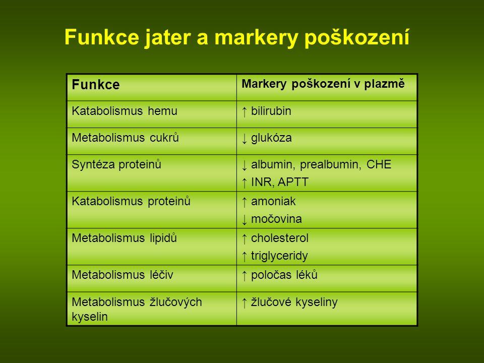 Funkce Markery poškození v plazmě Katabolismus hemu↑ bilirubin Metabolismus cukrů↓ glukóza Syntéza proteinů↓ albumin, prealbumin, CHE ↑ INR, APTT Kata