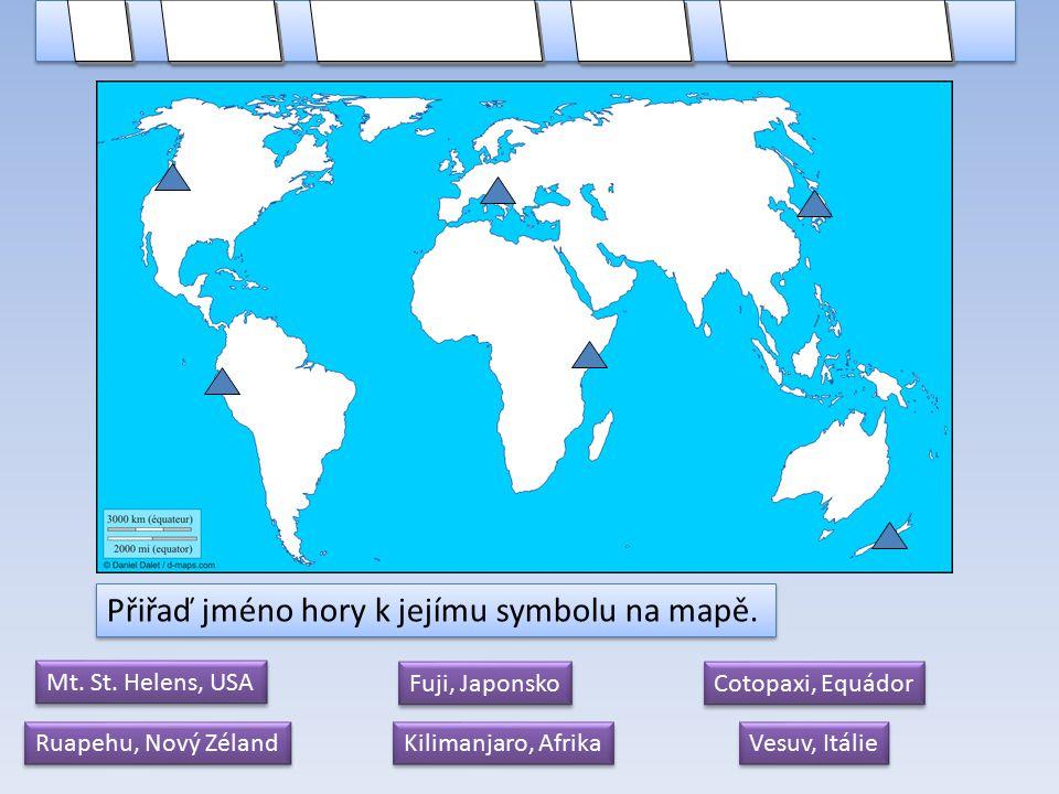 Spoj jméno hory s jejím popisem. Použij internet.