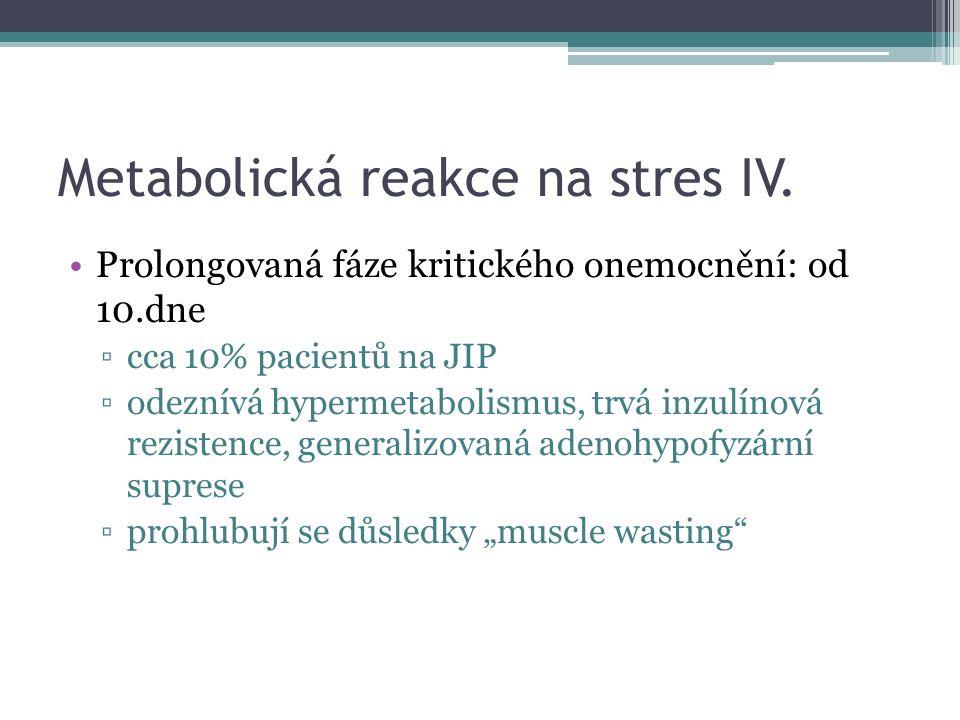 Metabolická reakce na stres IV. Prolongovaná fáze kritického onemocnění: od 10.dne ▫cca 10% pacientů na JIP ▫odeznívá hypermetabolismus, trvá inzulíno