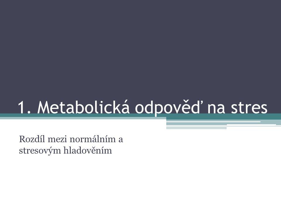 1. Metabolická odpověď na stres Rozdíl mezi normálním a stresovým hladověním