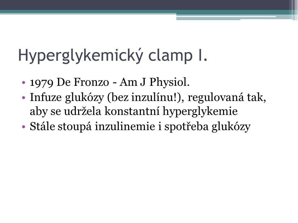 Hyperglykemický clamp I. 1979 De Fronzo - Am J Physiol. Infuze glukózy (bez inzulínu!), regulovaná tak, aby se udržela konstantní hyperglykemie Stále