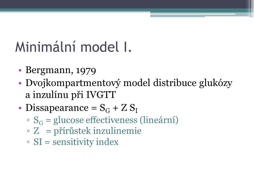 Minimální model I. Bergmann, 1979 Dvojkompartmentový model distribuce glukózy a inzulínu při IVGTT Dissapearance = S G + Z S I ▫S G = glucose effectiv