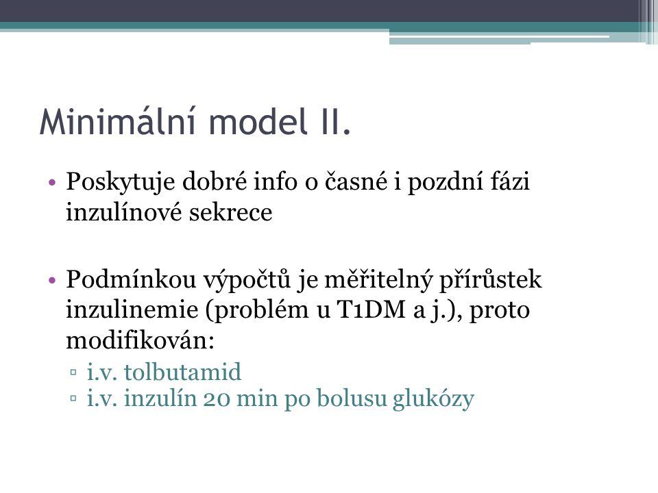 Minimální model II. Poskytuje dobré info o časné i pozdní fázi inzulínové sekrece Podmínkou výpočtů je měřitelný přírůstek inzulinemie (problém u T1DM