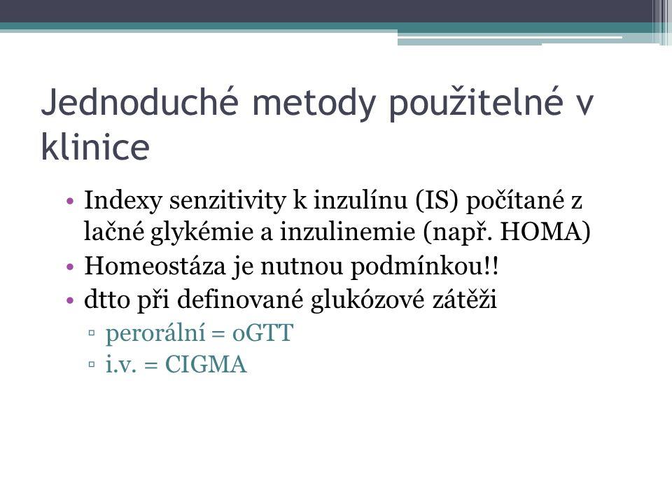 Jednoduché metody použitelné v klinice Indexy senzitivity k inzulínu (IS) počítané z lačné glykémie a inzulinemie (např. HOMA) Homeostáza je nutnou po