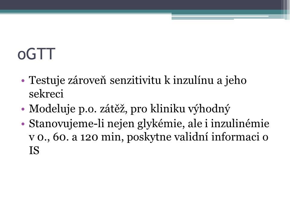 oGTT Testuje zároveň senzitivitu k inzulínu a jeho sekreci Modeluje p.o.