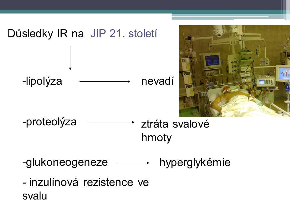Důsledky IR na JIP 21. století -lipolýza -proteolýza -glukoneogeneze - inzulínová rezistence ve svalu nevadí hyperglykémie ztráta svalové hmoty