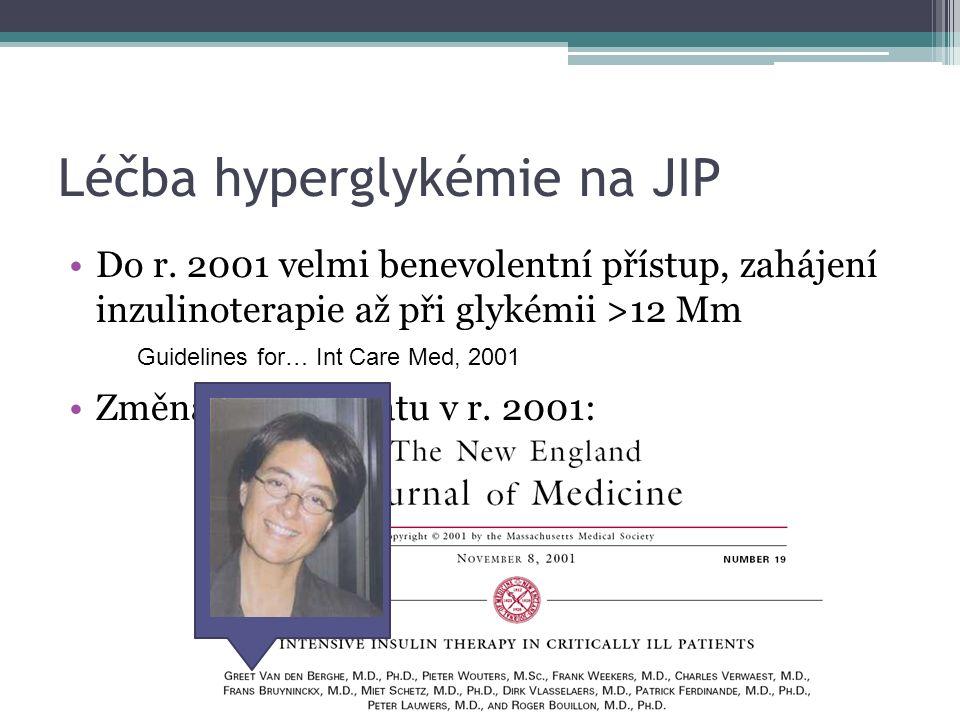 Léčba hyperglykémie na JIP Do r. 2001 velmi benevolentní přístup, zahájení inzulinoterapie až při glykémii >12 Mm Změna paradigmatu v r. 2001: Guideli