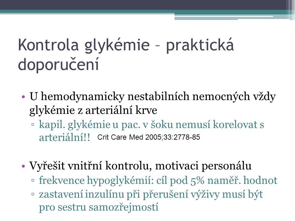 Kontrola glykémie – praktická doporučení U hemodynamicky nestabilních nemocných vždy glykémie z arteriální krve ▫kapil. glykémie u pac. v šoku nemusí