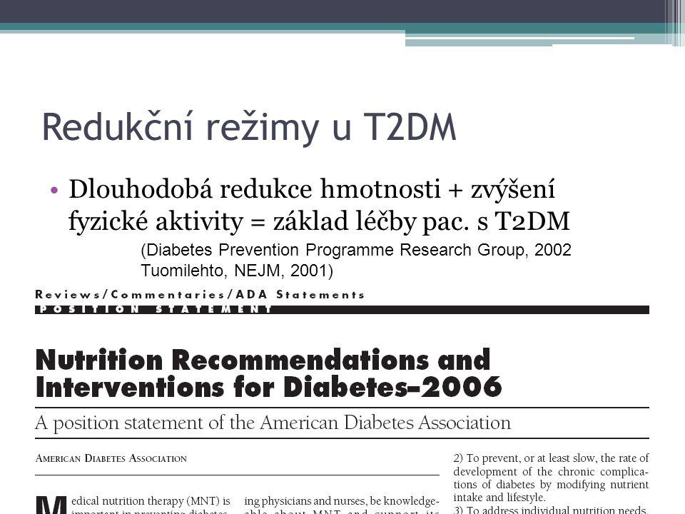 Redukční režimy u T2DM Dlouhodobá redukce hmotnosti + zvýšení fyzické aktivity = základ léčby pac. s T2DM (Diabetes Prevention Programme Research Grou