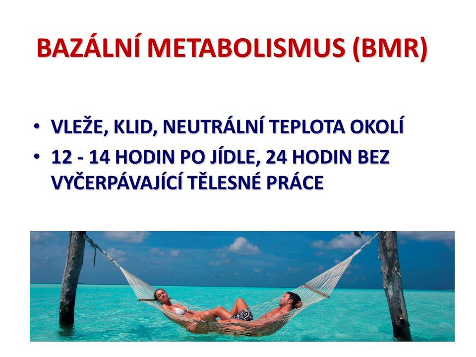 BAZÁLNÍ METABOLISMUS závisí na povrchu těla 1. povrchu těla (tělesná výška a hmotnosti) 2.
