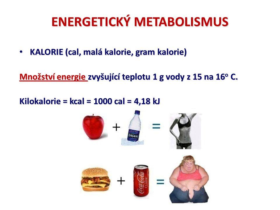 ENERGETICKÝ METABOLISMUS KALORIE (cal, malá kalorie, gram kalorie) KALORIE (cal, malá kalorie, gram kalorie) Množství energie zvyšující teplotu 1 g vody z 15 na 16 o C.