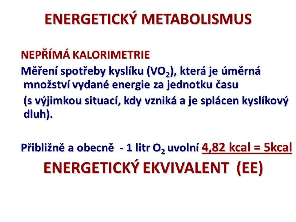 ENERGETICKÝ METABOLISMUS KALORIMETRIE Měření energie uvolněné spálením potravy mimo tělo PŘÍMÁ KALORIMETRIE (kalorimetr) sacharidy = 4,1 kcal/g tuky = 9,3 kcal/g proteiny = 5,3 kcal/g Běžná potrava SPALNÉ TEPLO