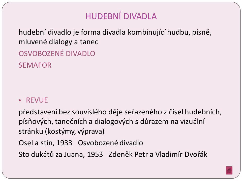 HUDEBNÍ DIVADLA hudební divadlo je forma divadla kombinující hudbu, písně, mluvené dialogy a tanec OSVOBOZENÉ DIVADLO SEMAFOR REVUE představení bez souvislého děje seřazeného z čísel hudebních, písňových, tanečních a dialogových s důrazem na vizuální stránku (kostýmy, výprava) Osel a stín, 1933 Osvobozené divadlo Sto dukátů za Juana, 1953 Zdeněk Petr a Vladimír Dvořák