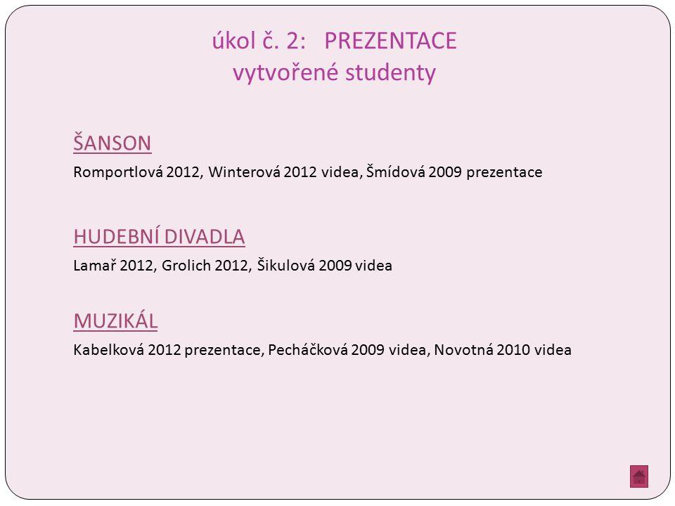 úkol č. 2: PREZENTACE vytvořené studenty ŠANSON Romportlová 2012, Winterová 2012 videa, Šmídová 2009 prezentace HUDEBNÍ DIVADLA Lamař 2012, Grolich 20