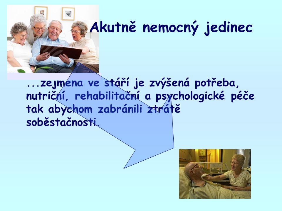 ...zejména ve stáří je zvýšená potřeba, nutriční, rehabilitační a psychologické péče tak abychom zabránili ztrátě soběstačnosti. Akutně nemocný jedine