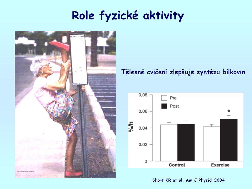Role fyzické aktivity Tělesné cvičení zlepšuje syntézu bílkovin Short KR et al. Am J Physiol 2004