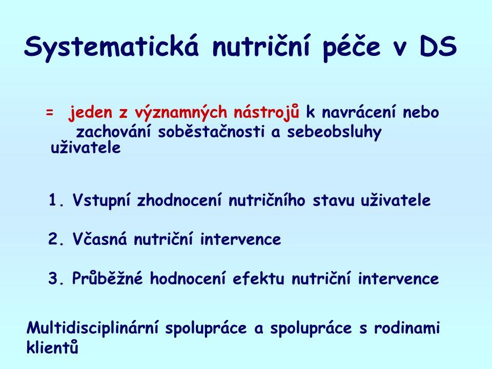 Systematická nutriční péče v DS = jeden z významných nástrojů k navrácení nebo zachování soběstačnosti a sebeobsluhy uživatele 1.Vstupní zhodnocení nutričního stavu uživatele 2.Včasná nutriční intervence 3.Průběžné hodnocení efektu nutriční intervence Multidisciplinární spolupráce a spolupráce s rodinami klientů