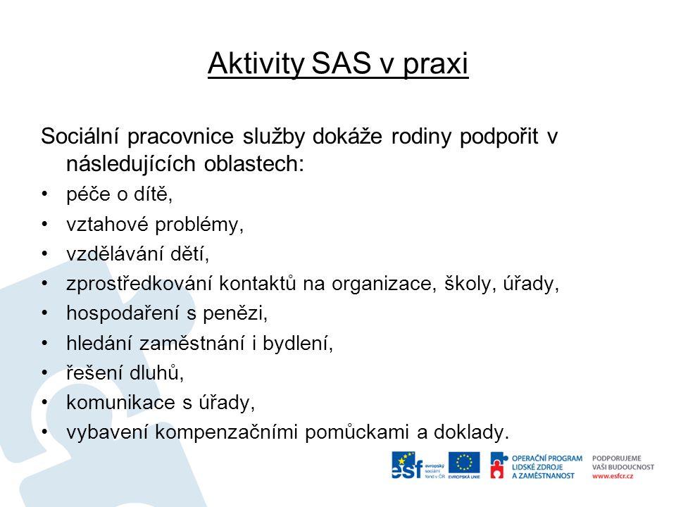 Aktivity SAS v praxi Sociální pracovnice služby dokáže rodiny podpořit v následujících oblastech: péče o dítě, vztahové problémy, vzdělávání dětí, zprostředkování kontaktů na organizace, školy, úřady, hospodaření s penězi, hledání zaměstnání i bydlení, řešení dluhů, komunikace s úřady, vybavení kompenzačními pomůckami a doklady.
