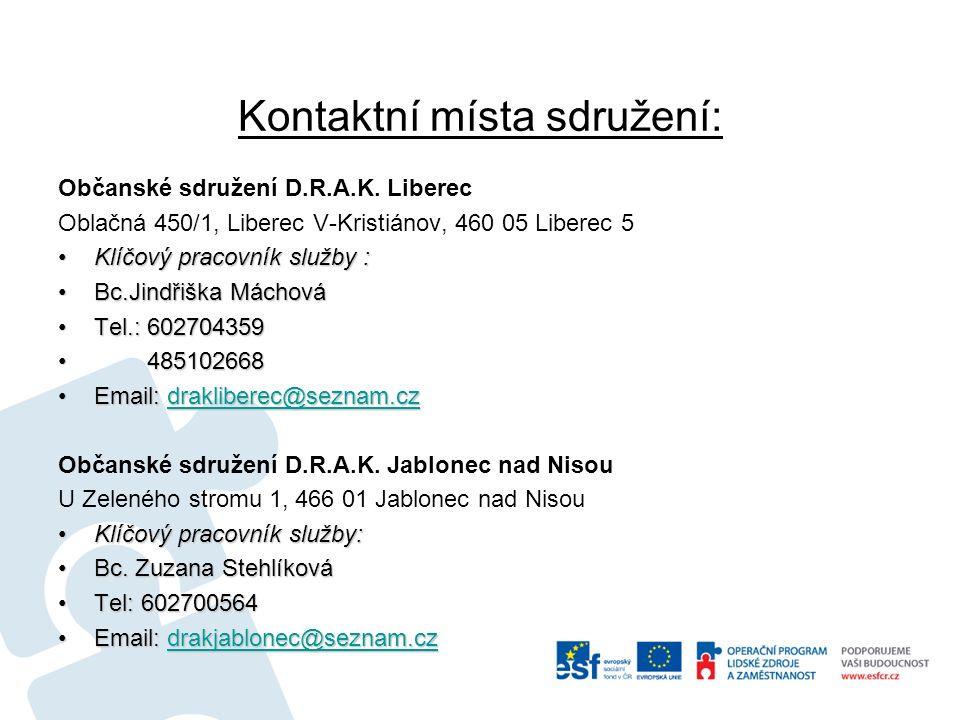 Kontaktní místa sdružení: Občanské sdružení D.R.A.K.