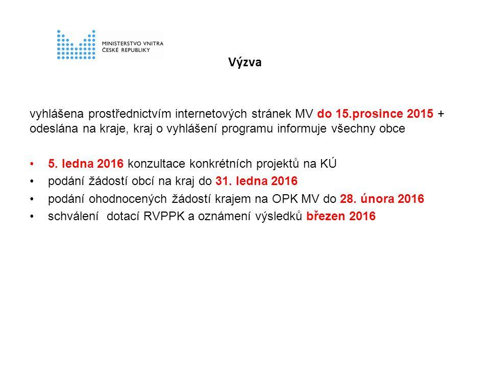 Výzva vyhlášena prostřednictvím internetových stránek MV do 15.prosince 2015 + odeslána na kraje, kraj o vyhlášení programu informuje všechny obce 5.