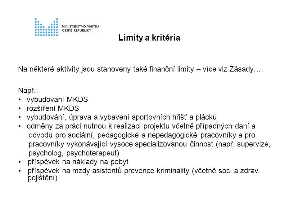 Limity a kritéria Na některé aktivity jsou stanoveny také finanční limity – více viz Zásady….