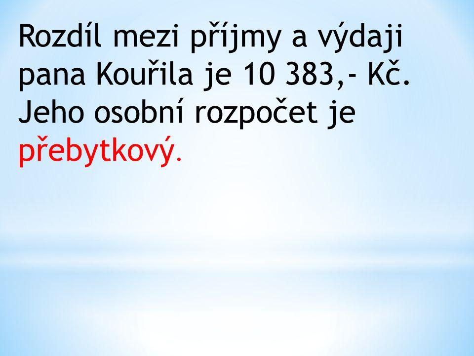 Rozdíl mezi příjmy a výdaji pana Kouřila je 10 383,- Kč. Jeho osobní rozpočet je přebytkový.