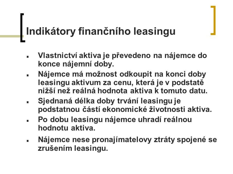 Indikátory finančního leasingu Vlastnictví aktiva je převedeno na nájemce do konce nájemní doby.