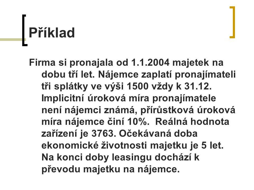 Příklad Firma si pronajala od 1.1.2004 majetek na dobu tří let.