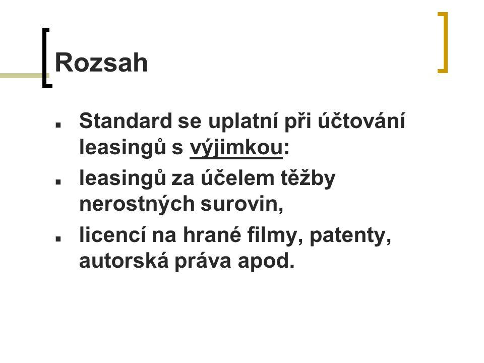 Rozsah Standard se uplatní při účtování leasingů s výjimkou: leasingů za účelem těžby nerostných surovin, licencí na hrané filmy, patenty, autorská práva apod.